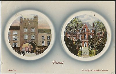 Westgate and school, Clonmel, Co Tipperary, Ireland, on 1911 embossed postcard