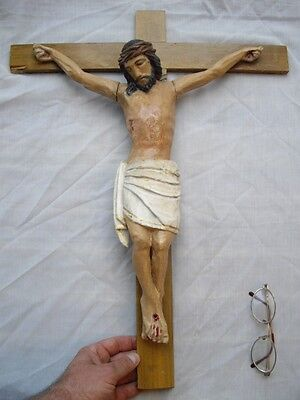 Antique Wood Carved Jesus Christ Crucifix Corpus Santos on Church Wooden Cross