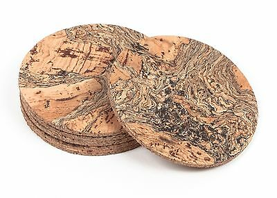 Round Cork Coasters Pattern Natural Portuguese Treasures  - Pack of 4