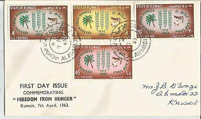 Kuwait 1963 Freedom from Hunger (SC# 193-196) on FDC First Day Cover VF