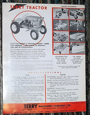 Vintage TERRY TRACTOR TILLER Brochure Machinery Company Textron Montreal Farm