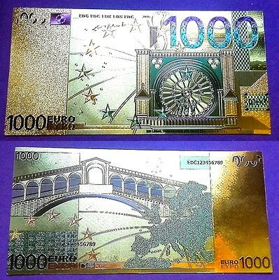 1 Billet plaqué OR 24 K Couleur ( Color GOLD Banknote ) - 1 000 Euros !!!