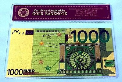 Billet plaqué OR 24 K Couleur Certificat - Color GOLD Banknote - 1 000 Euros !!!