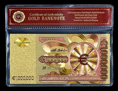 Billet plaqué OR 24 K Couleur avec Certificat - 1 000 000 Euros One Million Euro