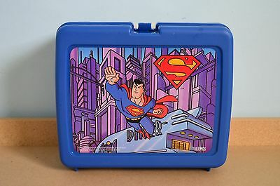 Superman Plastic LUNCH BOX with THERMOS WIPES and Thermos Unused 1996 DC Comics