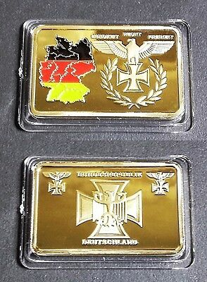 1 Lingot plaqué OR 24 K ( GOLD plated bar ) - WW2 Empire Allemand