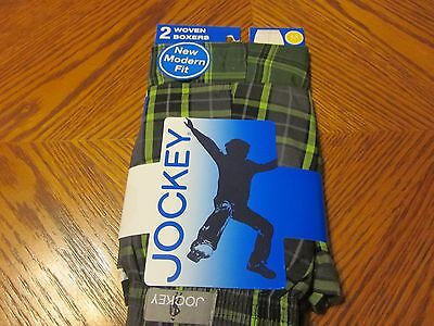 NEW boys JOCKEY 2 pr. woven BOXERS green PLAID shade COTTON polyester MED 10-12
