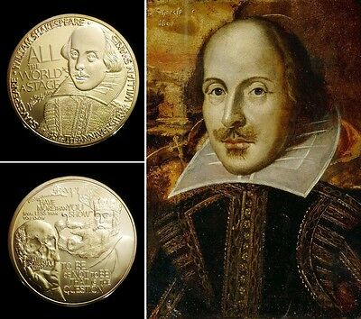 1 Pièce plaquée OR 24 K ( GOLD Plated Coin ) - William Shakespeare