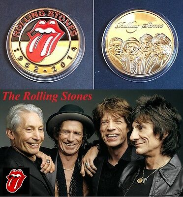 1 Pièce plaquée OR 24 K ( GOLD Plated Coin ) - The Rolling Stones Jagger Ref 1