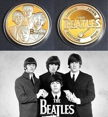 1 Pièce plaquée OR 24 K ( GOLD Plated Coin ) - The Beatles
