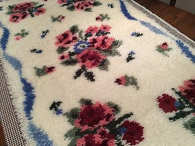 Vtg Completed Latch Hook Rug SHABBY CHIC Pink Roses Floral & Blue Ribbon