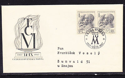Czechoslovakia 1947 - 1k20 (Pair) President Masarky  First Day Cover - Addressed