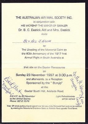 Australia 1997 - Airmail Society Invitation Card - signed