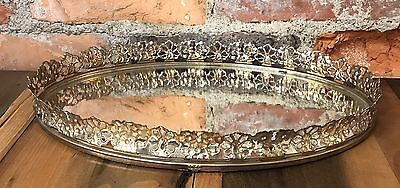 "Vintage Mirror Tray Vanity Gold Floral Filigree Frame Mirrored Perfume 13"" x 8"""
