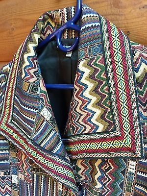 Clotheshead Woven Women Jacket Native American Southwest Tribal Leather Accent M