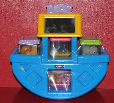 Noah's Ark -The Ark Rocks & 4 Blocks -Fisher Price  There are 2 Birds & A Mirror