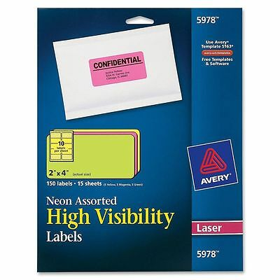 "Avery 5978 Neon Laser Shipping Labels, 2"" x 4"",Assorted Colors,150/Box"