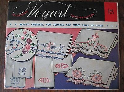 Vintage Transfer Pattern Hand Embroidery Vogart #128 Floral Pillow Cases Uncut