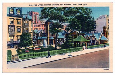 1930-40 Postcard The Little Church Around The Corner New York City Linen Unused