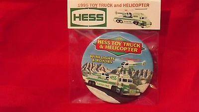 "1995 Hess Toy Truck and Helicopter 3"" Pin Back Button Repackaged New 151"
