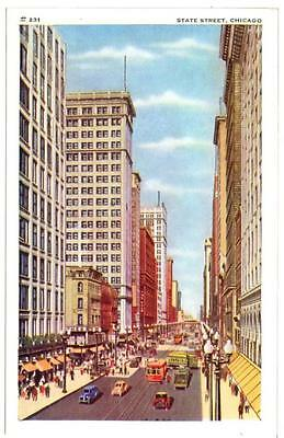 Postcard 1920s Vintage Automobiles Street Cars Trolleys State Chicago Illinois