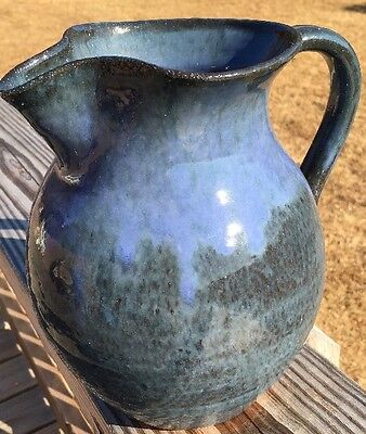 Blue Crystalline 2000 Late Richard Kale Catawba Valley Pottery Pitcher