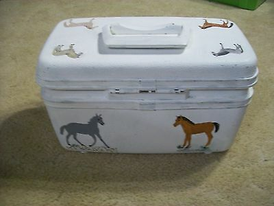 OOAK Custom Hand painted Cowgirl Cowboy Horse Equestrian Equine train case box