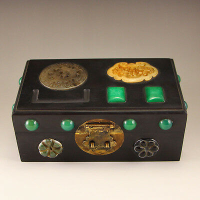 Chinese Zitan Wood Inlay Natural Jade Jewel Box
