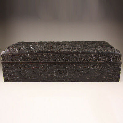 Chinese Zitan Wood Low Relief Lucky Dragons Poetic Prose Jewel Box