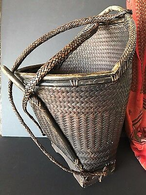 Vintage Borneo Dayak Tribal Carry Basket / Backpack …beautiful collection & acce