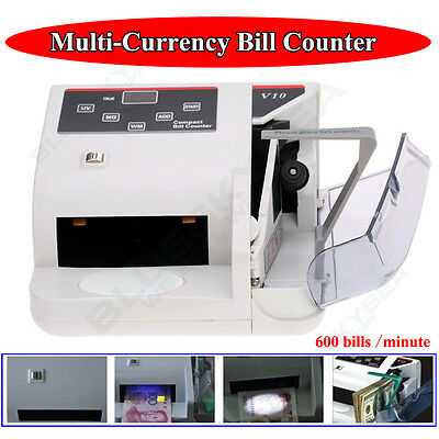 V10 Portable USD EURO Bill Cash Money Currency Counter Fast Counting W/ UV MG WM