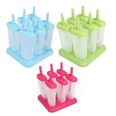6 Cell Frozen Ice Cream Stick Maker Pop Mold Popsicle Lolly Mould Tray Pan DIY