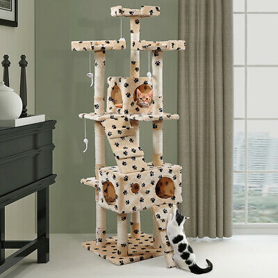 """67"""" Cat Tree Tower Condo Furniture Scratching Post Pet Kitty Play House Beige"""