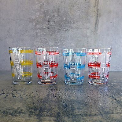 4  Mid Century Small  Drinking Glasses 100mls MCM Red Yellow Blue White Vintage