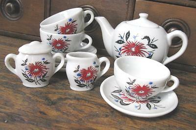 True Vtg China Toy Tea Set w/ Red Flowers Made in Japan 12 Pieces