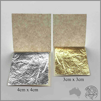 20 Pure Edible 24K Gold & Silver Leaf Mix Combo (Gold 3x3cm + Silver 4x4cm)