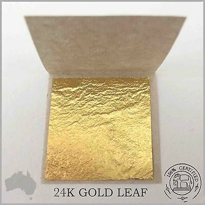 25 Pure 24K Gold Leaf Sheets Book 3cm x 3cm (100% Guaranteed & Certified Edible)