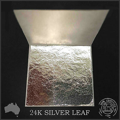 10 Pure 24K Silver Leaf Sheets Book 4x4cm (100% Guaranteed & Certified Edible)