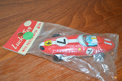 Vintage Lucky Toy Tin Toy Ferrari #7 Tin Litho Friction Car Made in Japan SEALED