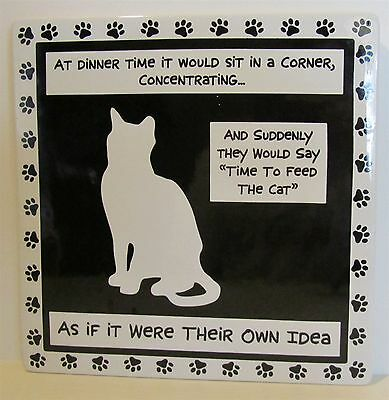 Lorrie Veasey Our Name Is Mud B&W Ceramic Cat Tile As If It Were Their Own Idea
