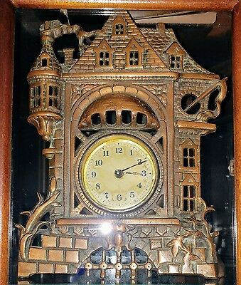 Antique Castle Shaped Bronze Plated Cast Iron Working Mantel Clock Early 1900's