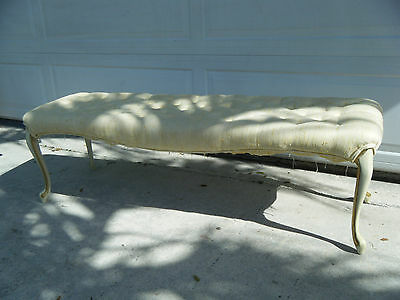 Vintage French Provincial Yellow Tufted Bench