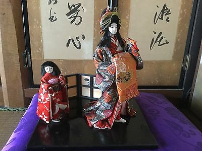 Japanese '60s GOFUN+Glass eyes OIRAN GEISHA doll with attendant KAMURO child