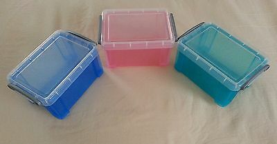 "Lot of 3, Really Useful Plastic Storage Boxes, 0.7 Liter, 6"" x 4"" x 3"""