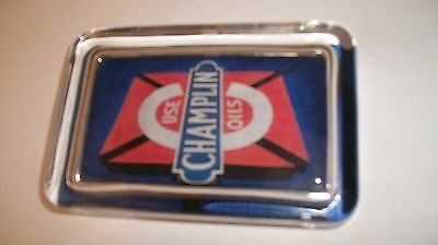Champlin Use Oil Logo Gas Station Blue Red Advertising Sign Glass Paperweight