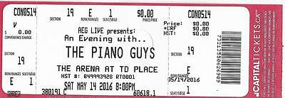 The Piano Guys Td Place Ottawa Canada 14.05.2016 Used Ticket