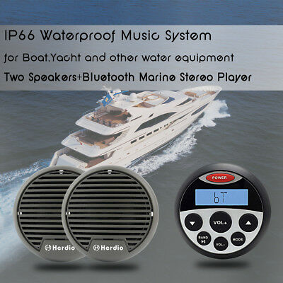 "12V Boat Waterproof Marine Bluetooth Mp3 Player+3"" Yacht Outdoor Stereo Speakers"