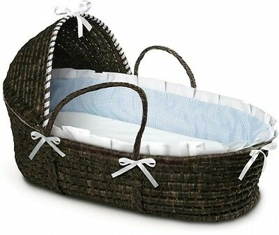 Espresso Moses Basket with Hood Blue Gingham Bedding Durable Bumper Foam Pad