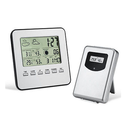 LCD Digital Wireless Thermometer Indoor+Outdoor Hygrothermograph Weather Station