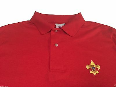 (L) Vintage 80s Boy Scouts Red Polo Shirt Deadstock Logo Embroidered